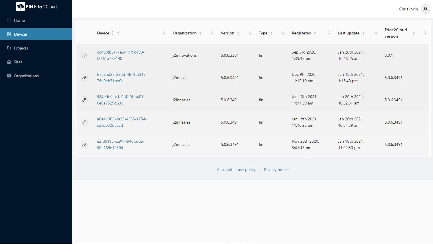 Edge2Cloud Portal
